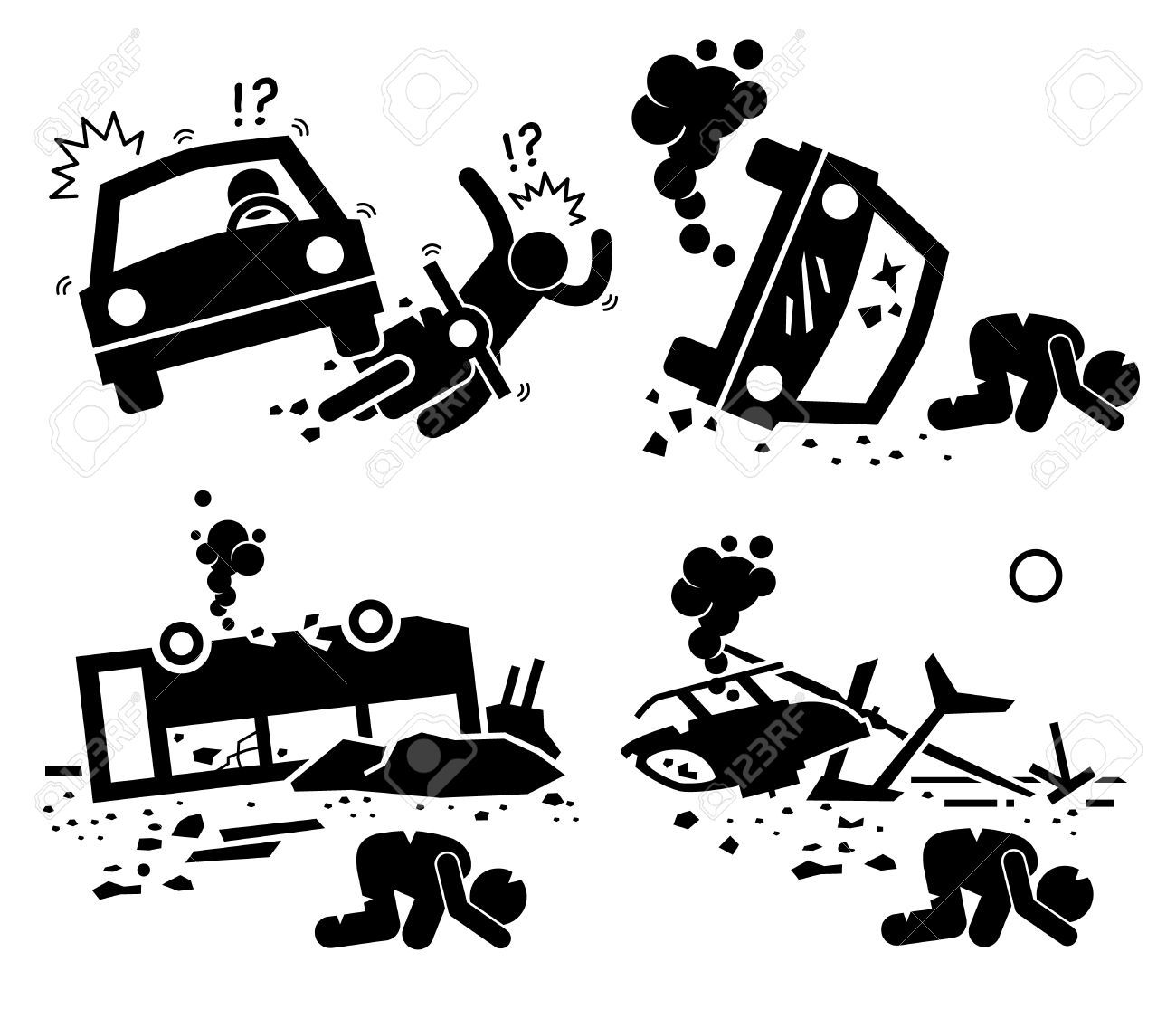 graphic black and white Accident clipart mishap. Stock vector art in