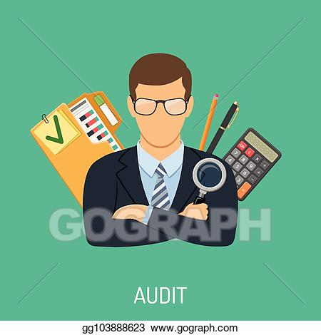 svg black and white library Vector stock and accounting. Accountant clipart auditor