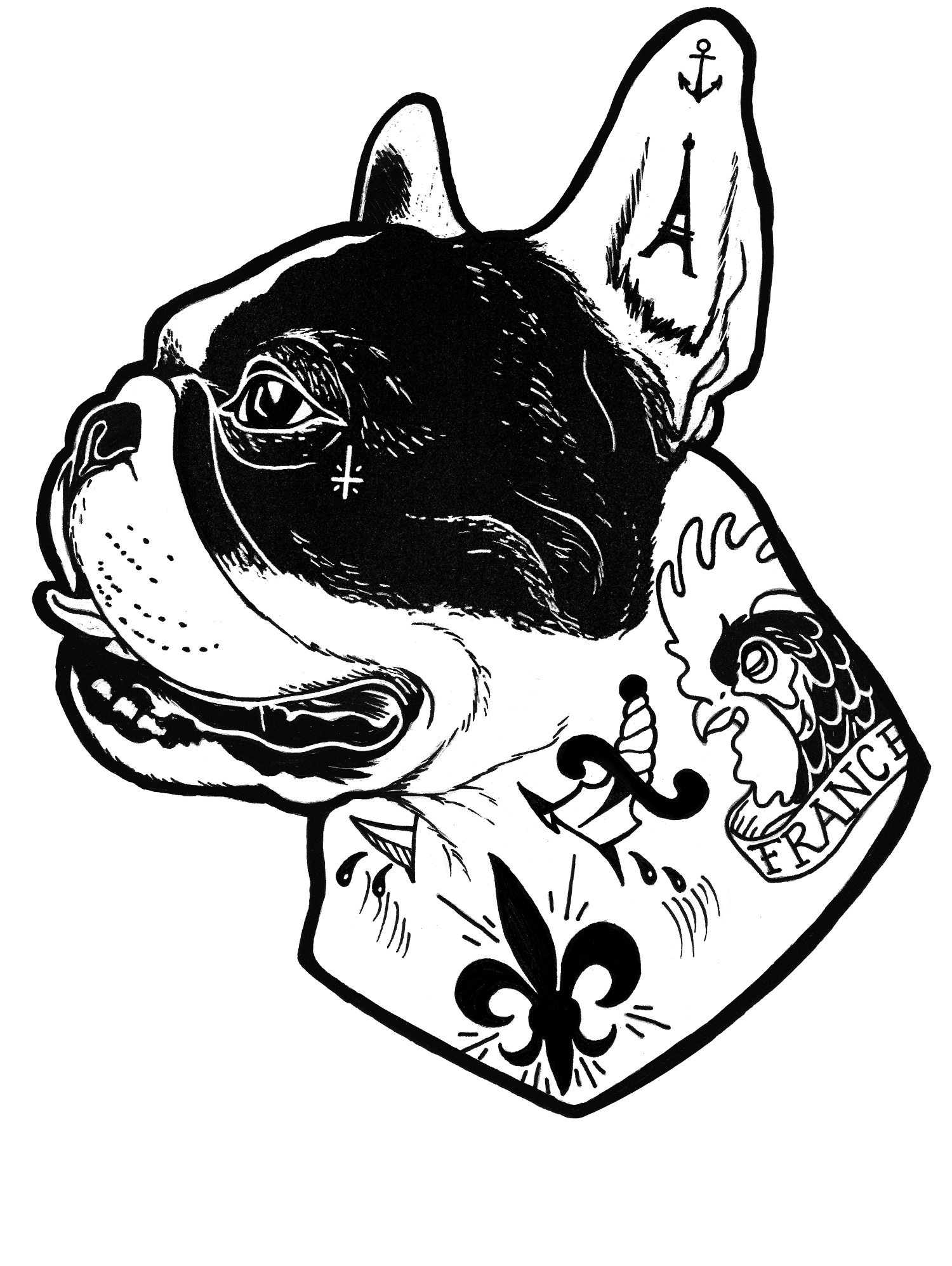 jpg royalty free Vector bulldog french. Tattooed cheryl hubbard pinterest