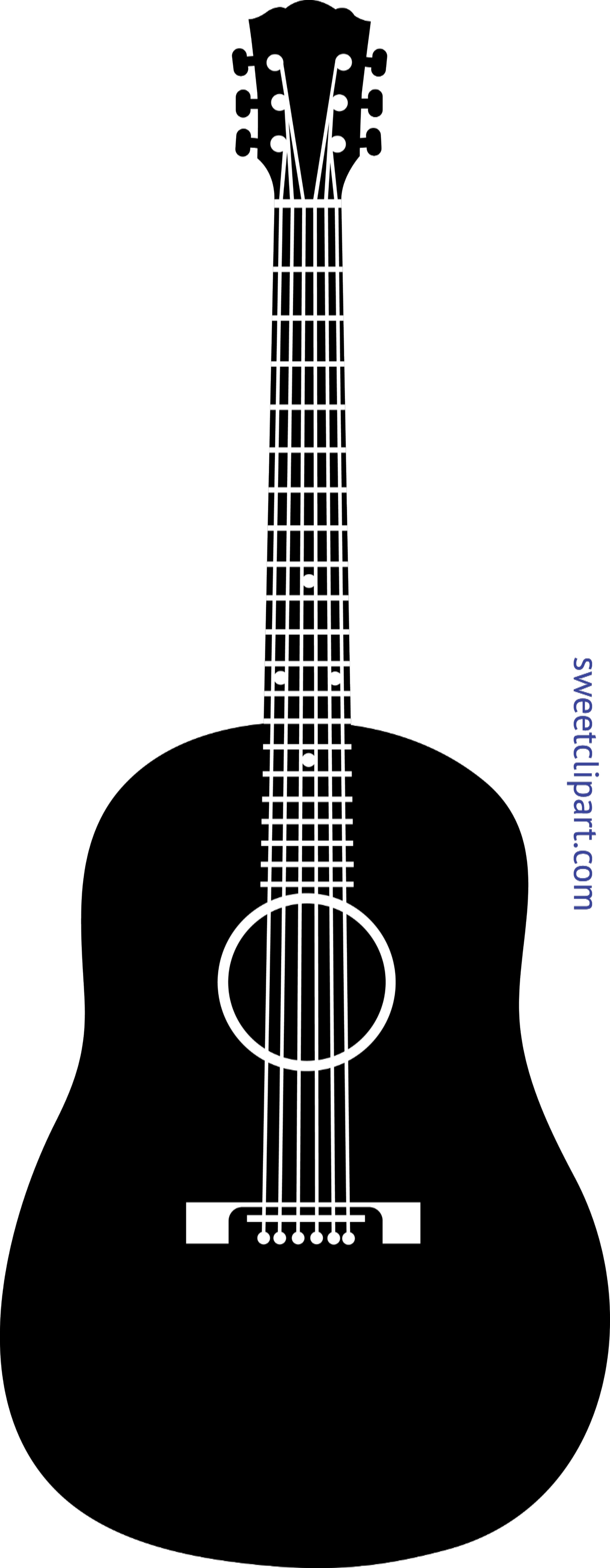 vector black and white stock Guitar black silhouette clip. Acoustic clipart.