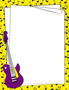 jpg library library Guitar printable stationery borders. Acoustic clipart border