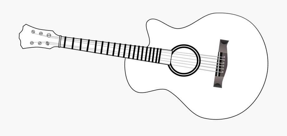 graphic library download Outline clip art black. Acoustic clipart guitar string.