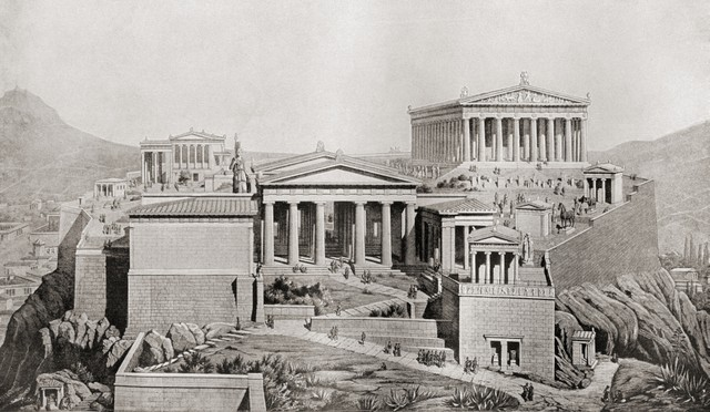 vector black and white download The athens as it. Acropolis drawing greece ancient