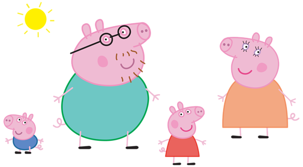 jpg stock Action clipart swept. Peppa pig family logo.