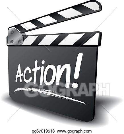 picture freeuse stock Action clipart video. Vector art clapper board