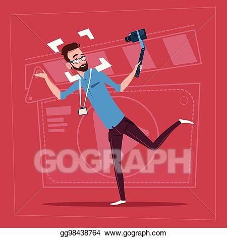 graphic black and white Vector man holding camera. Action clipart video