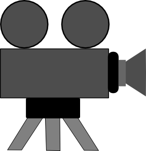 image black and white library Action clipart video. Movie camera and film
