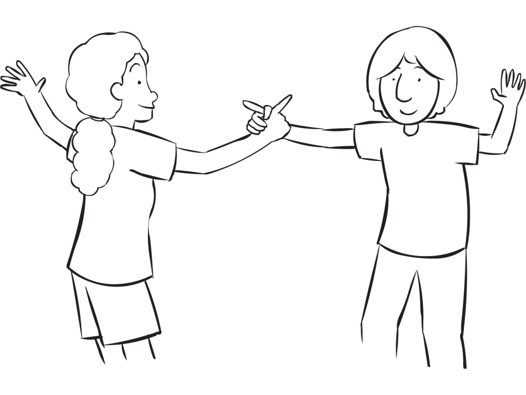 image royalty free stock Drawing something hand holding. Two people hands at