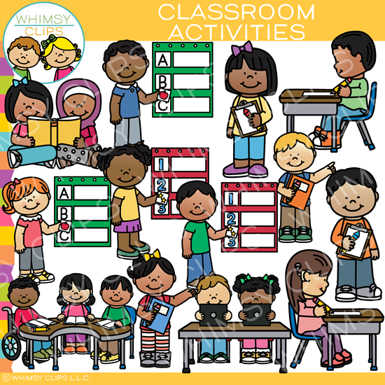 clipart black and white stock Activities clipart classroom. Clip art