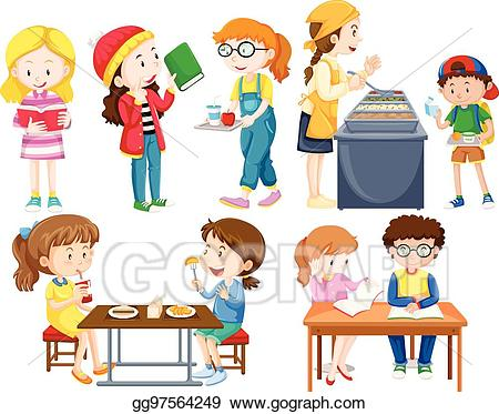 clip royalty free library Activities clipart different. Eps illustration students doing