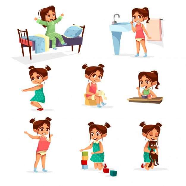 jpg library stock Cartoon girl daily routine. Activities clipart everyday activity