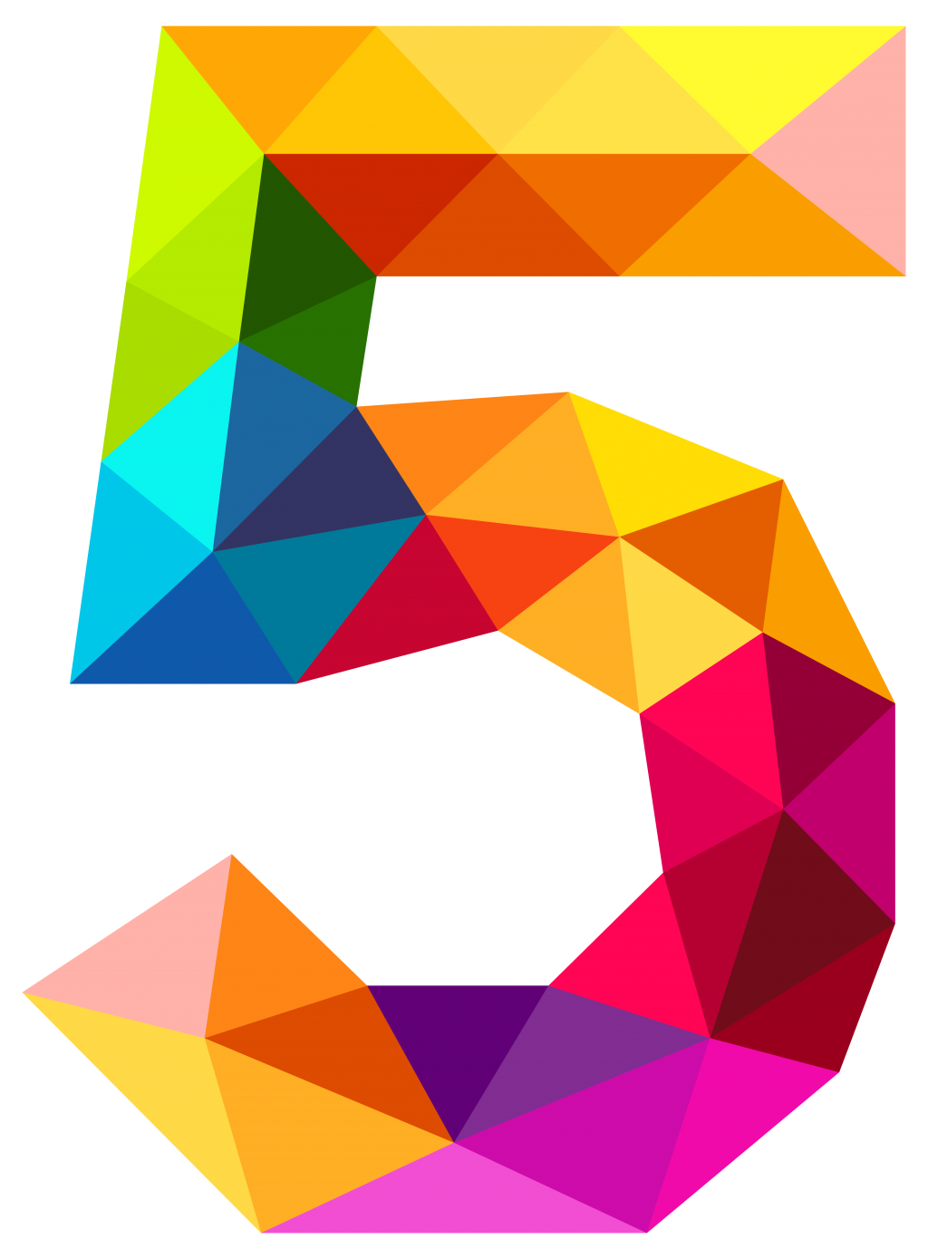 png stock Addition clipart cartoon. Colourful triangles number five