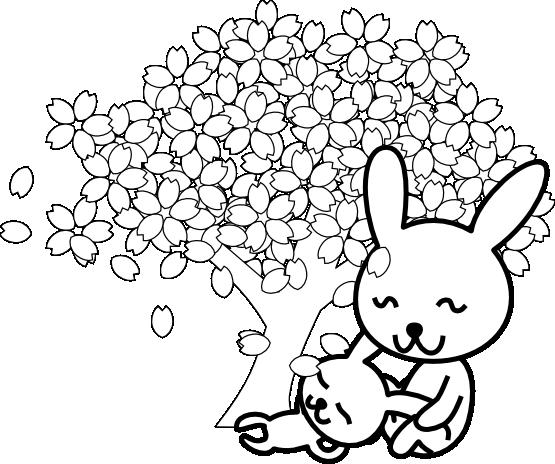 png black and white stock Adobe clipart black and white. Cherry blossoms rabbit sakurausagi
