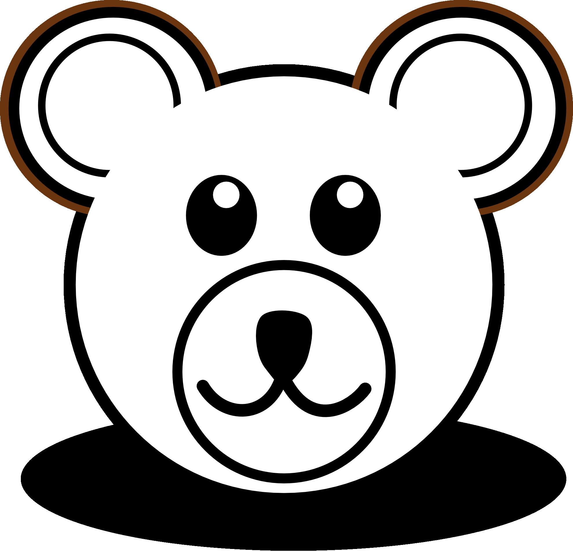 jpg black and white library Bear head cartoon brown. Adobe clipart black and white