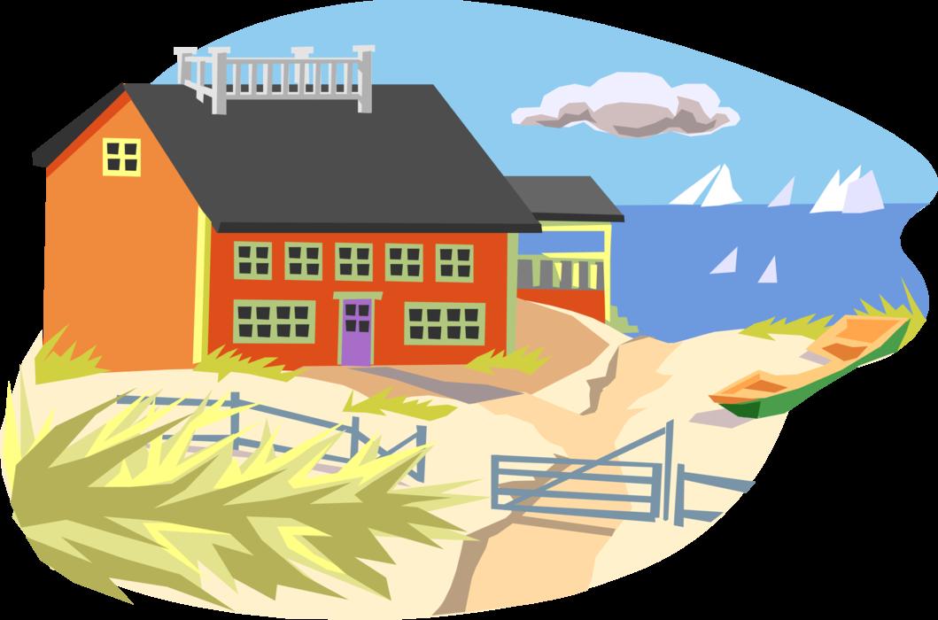 vector stock Seashore beach and sailboats. Adobe clipart sand house