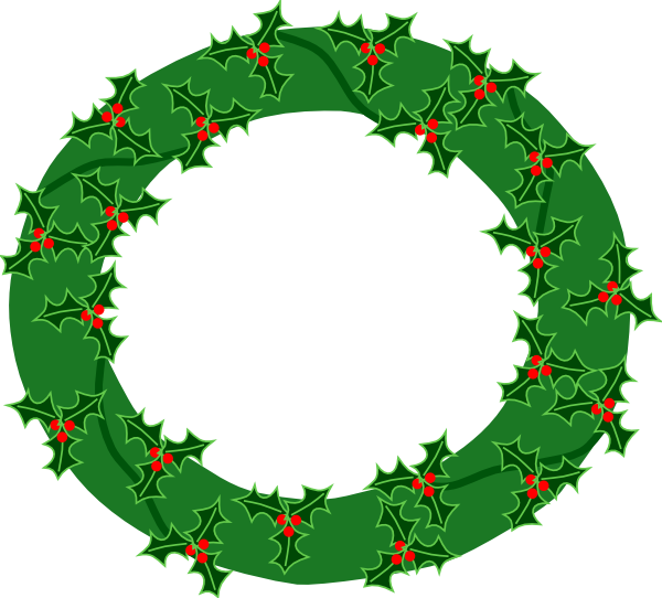 black and white Evergreen with large holly. Advent wreath clipart free