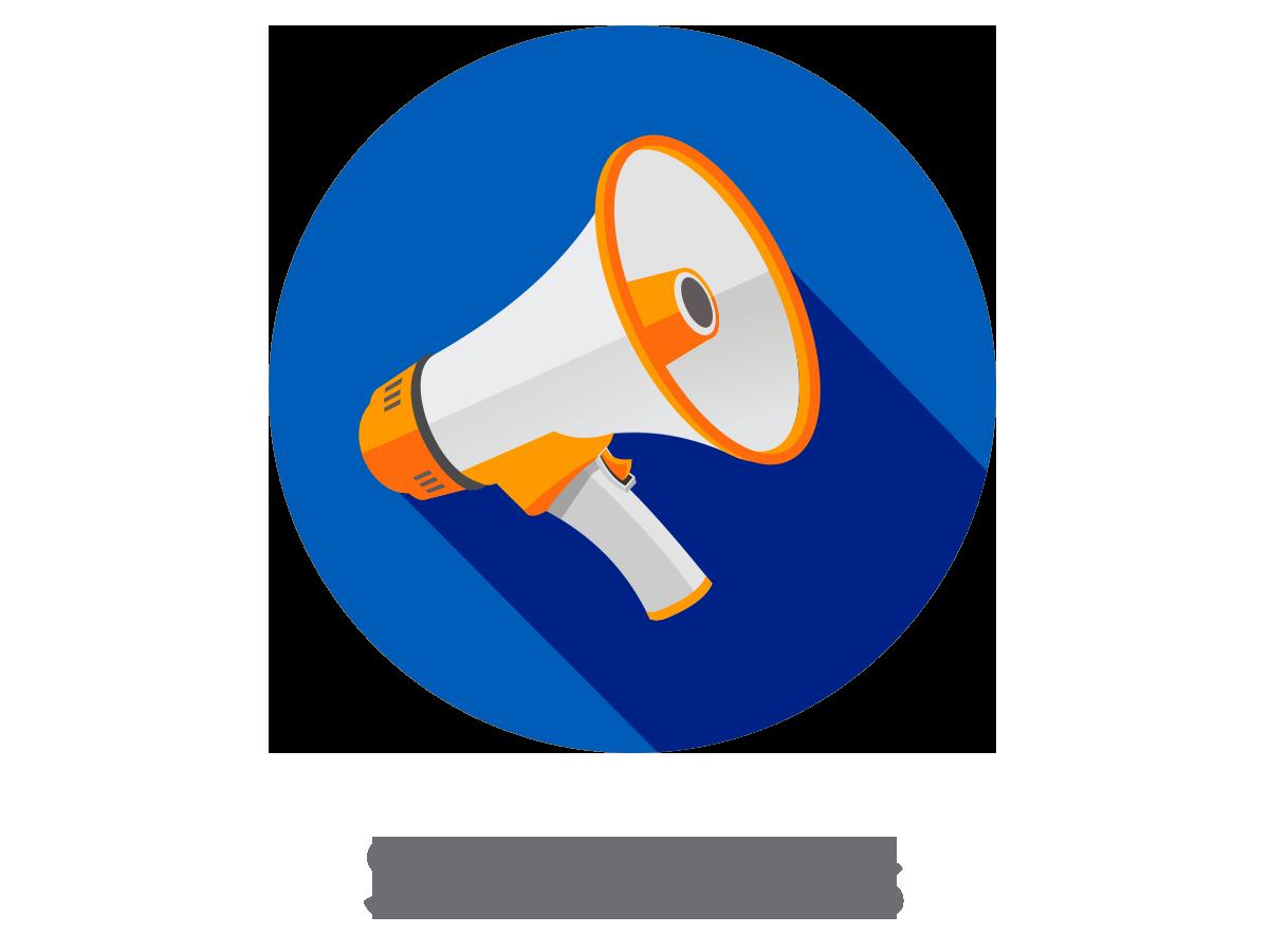banner stock Set up your social. Advertising clipart megaphone.
