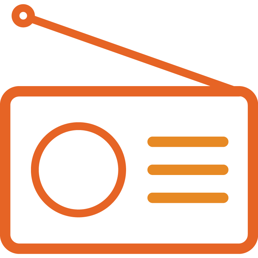 black and white library Advertising clipart radio. Marketing background .
