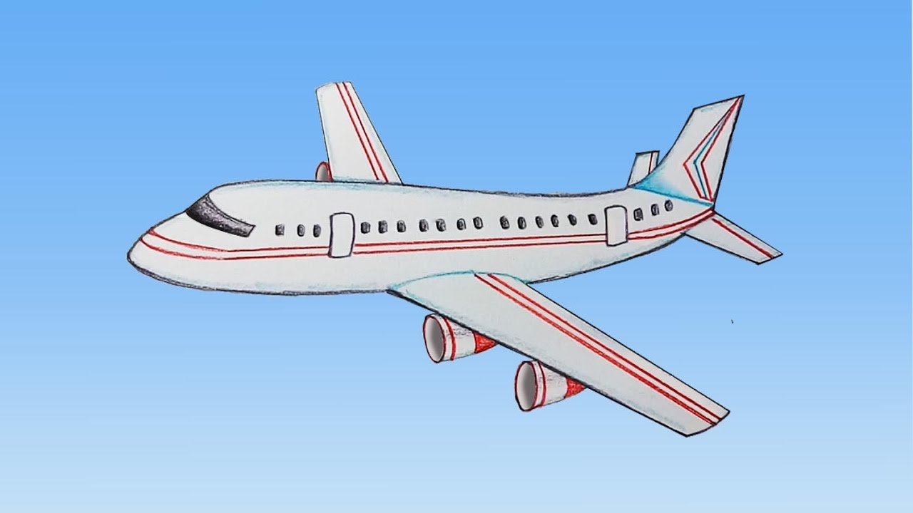 jpg free library How to draw step. Aeroplane drawing