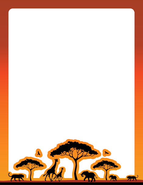 graphic freeuse Africa clipart border. An african safari themed