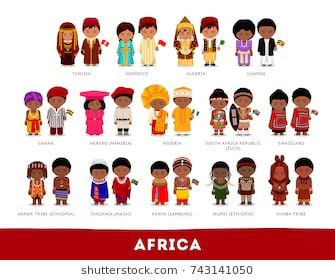 graphic black and white library Africans in national clothes. Vector costume flat