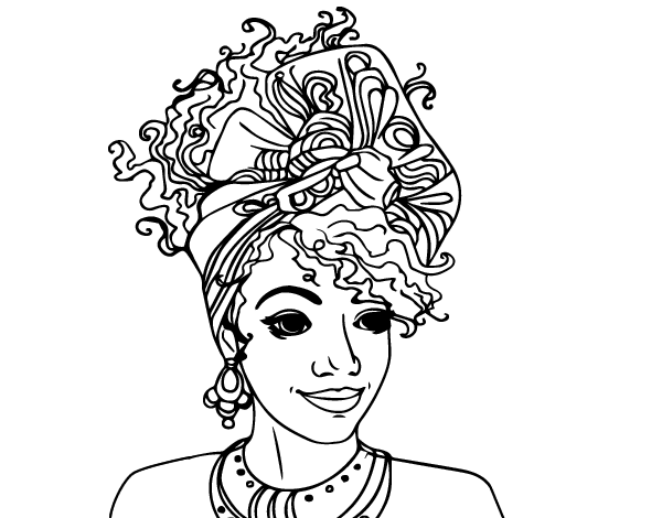 graphic freeuse stock African American Woman Coloring Pages