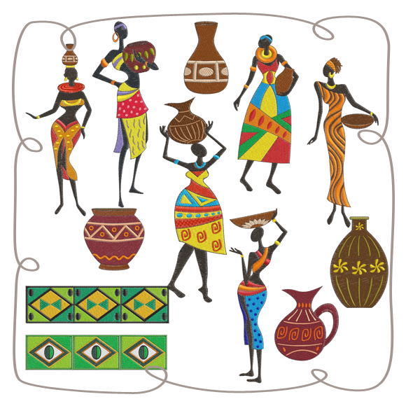 vector royalty free download Africa clipart pottery african. Ladies machine embroidery designs