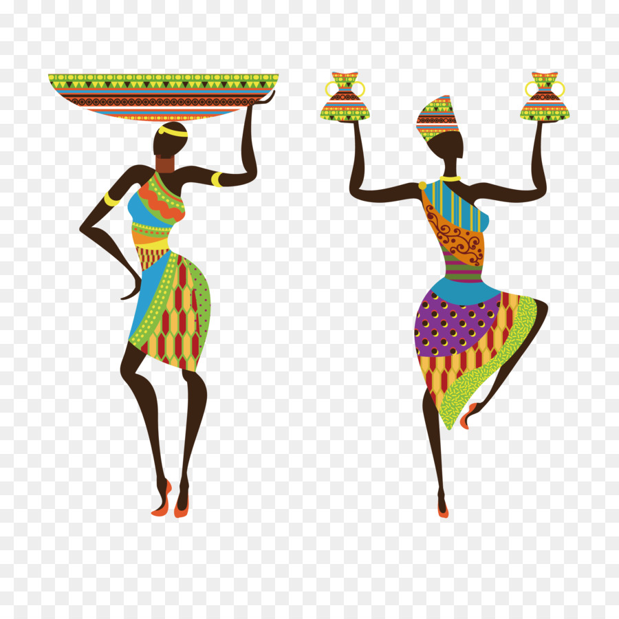 royalty free Sub saharan woman painting. Africa clipart traditional african