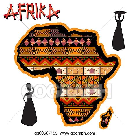 svg black and white Stock illustration map drawing. Africa clipart traditional african