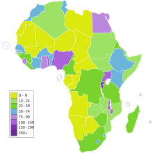 vector transparent library List of African countries by population density
