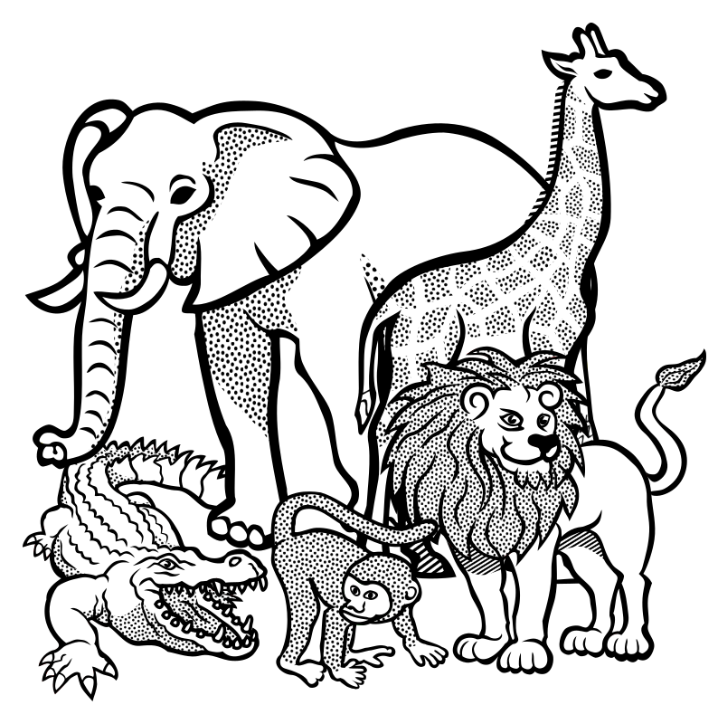 graphic royalty free library Animals lineart medium image. African animal clipart
