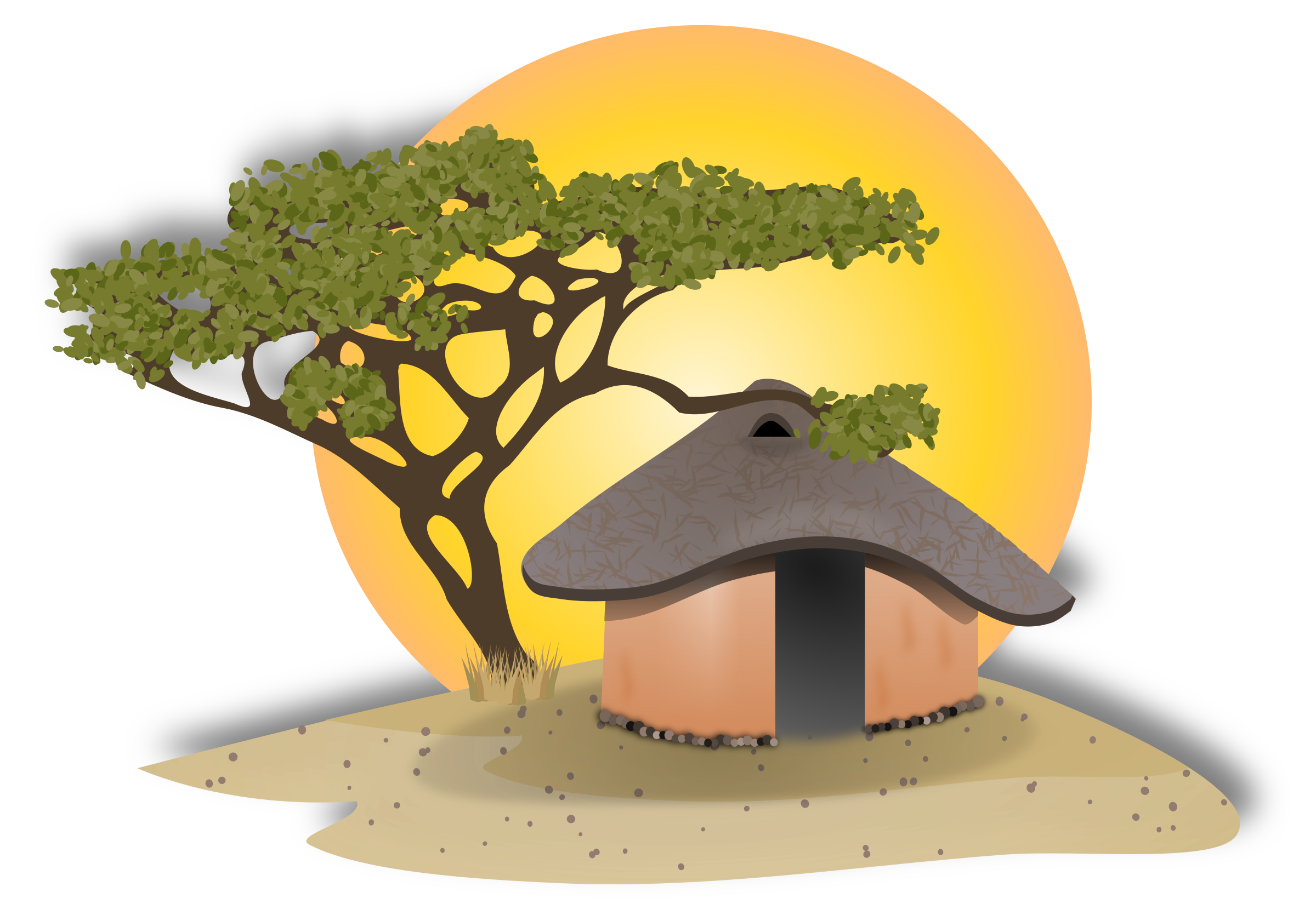 clip transparent stock Technology drawing village. African hut at getdrawings