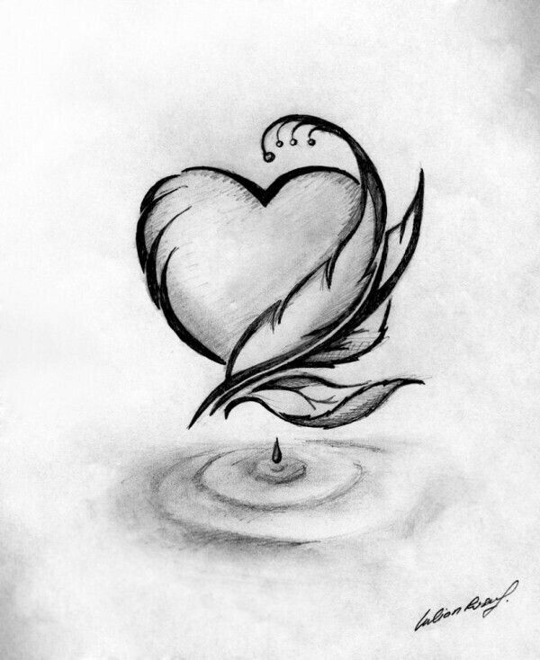 vector transparent stock Hart drawing beautiful. Heart and feather doodles