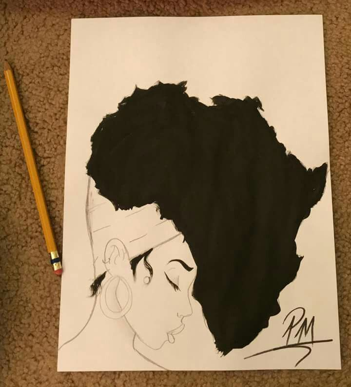 library Pride drawing afro. African american with another