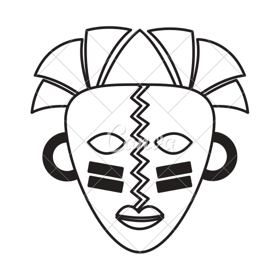 banner black and white African Mask Drawing at GetDrawings