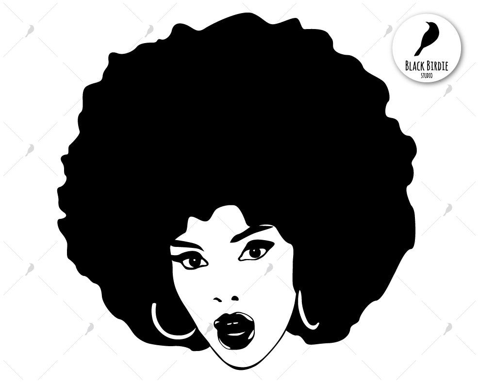 clip black and white Afro clipart. Black woman svg