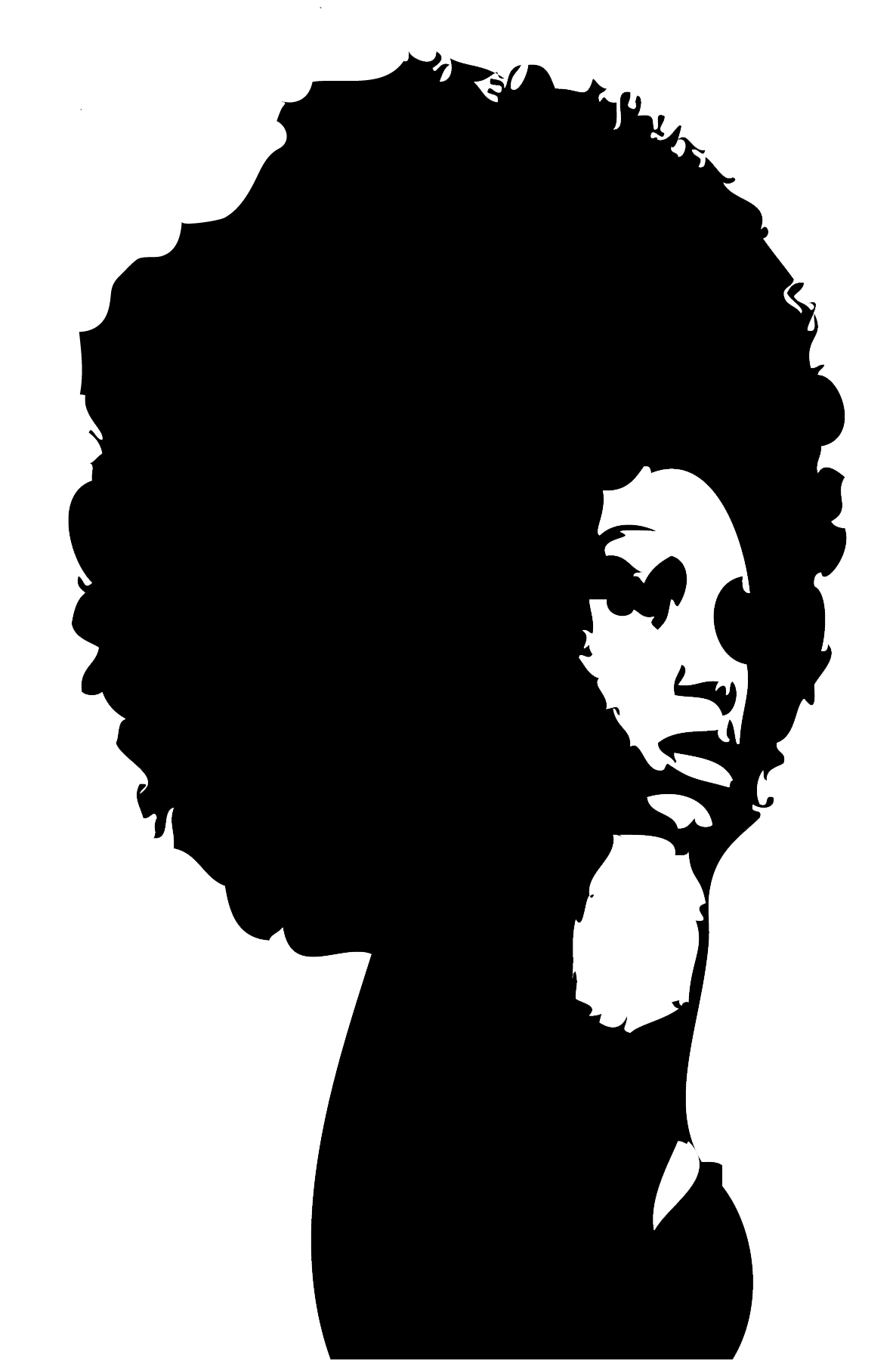 black and white download Curly Afro Silhouette at GetDrawings