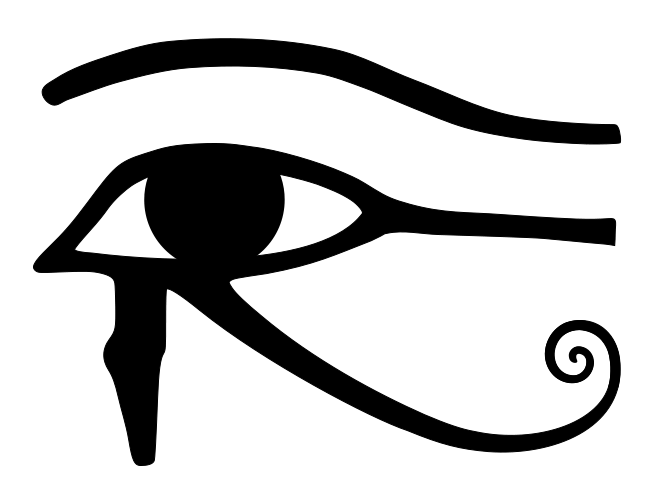 image black and white stock Psychedelic vector third eye. Secrets of the horus.