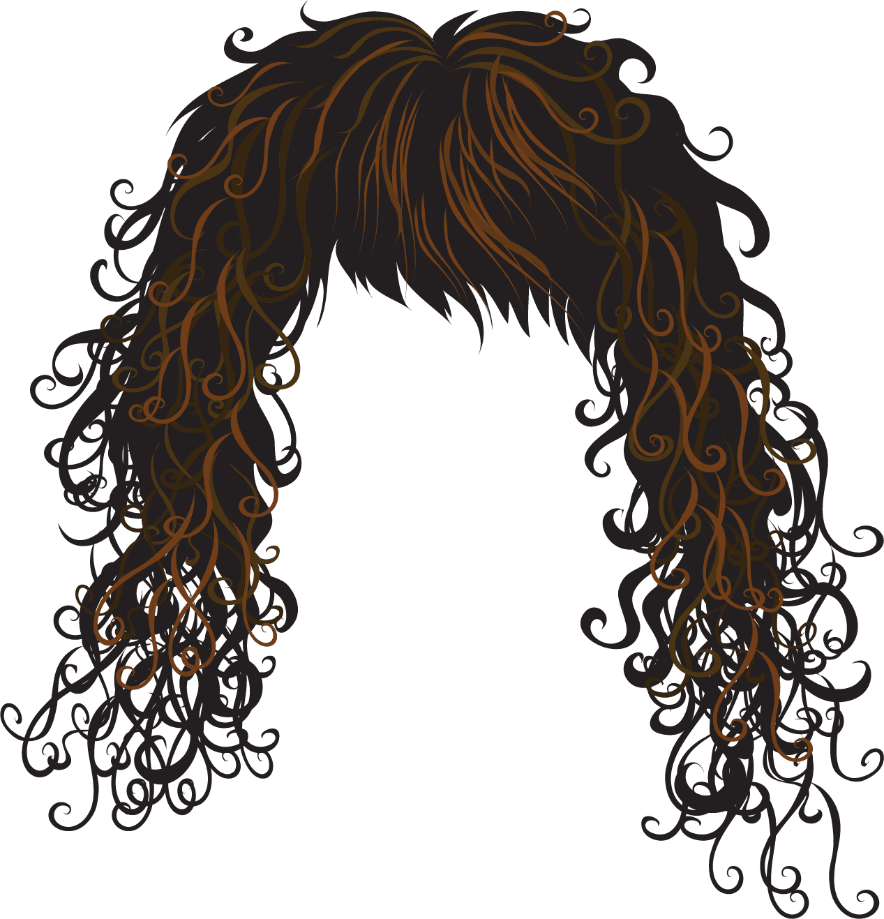 graphic freeuse Brown Hair Clipart Black Hair Wig