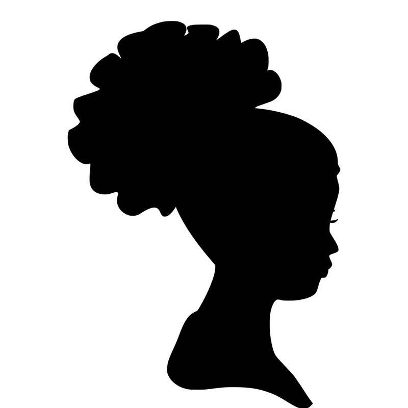 vector free stock Headwrap woman silhouette head. Girl svg clip art