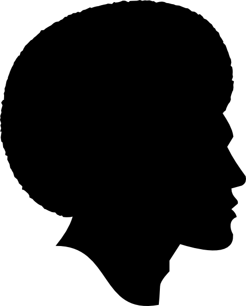 svg free library Drawing silhouette messy bun. African american family black