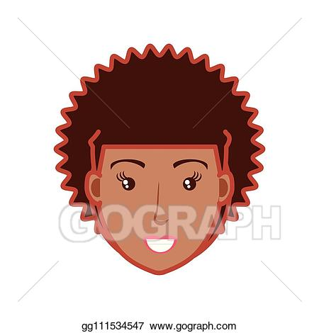 image library stock Vector illustration head of. Afro clipart red.