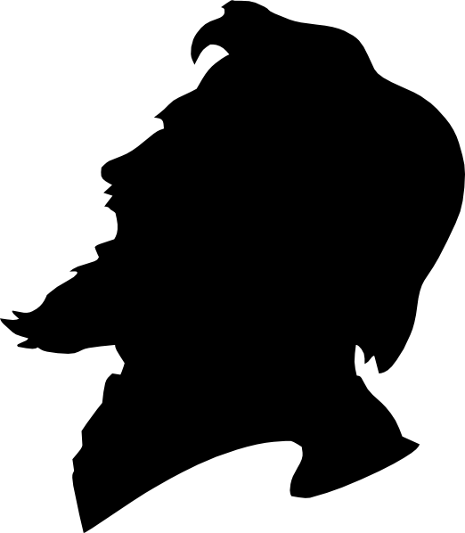 image royalty free library Man yelling side view. Beard clipart silhouette