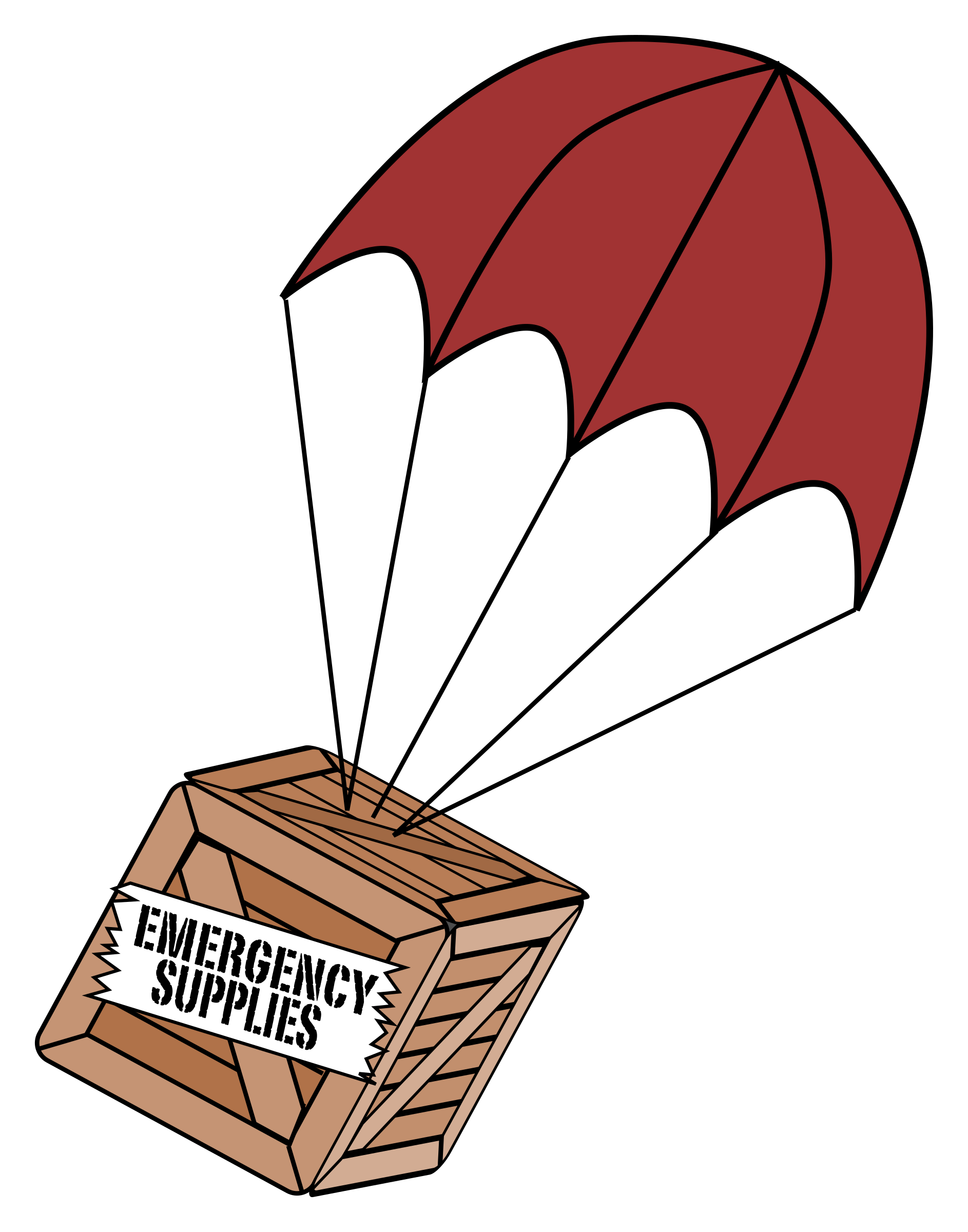 clip free stock Supplies boxchute big image. Binder clipart emergency.