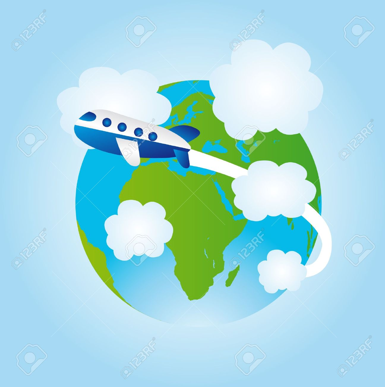 vector download Travel earth icon image. Airplane around the world clipart