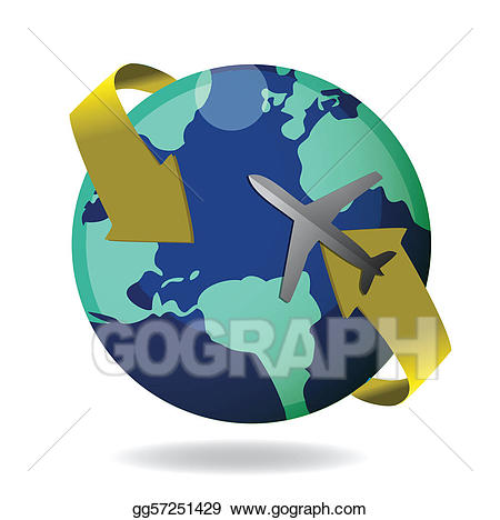 clip black and white stock Airplane around the world clipart. Vector art flying globe