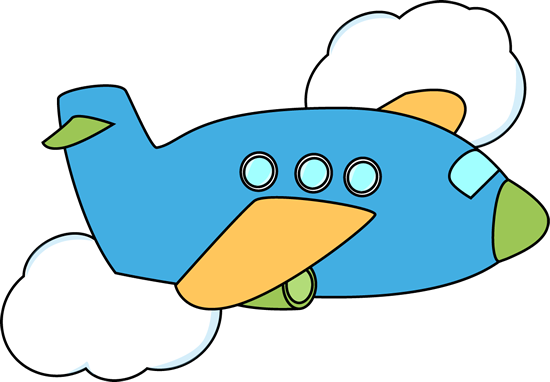 vector free stock Cute airplane through clouds. Flying clipart