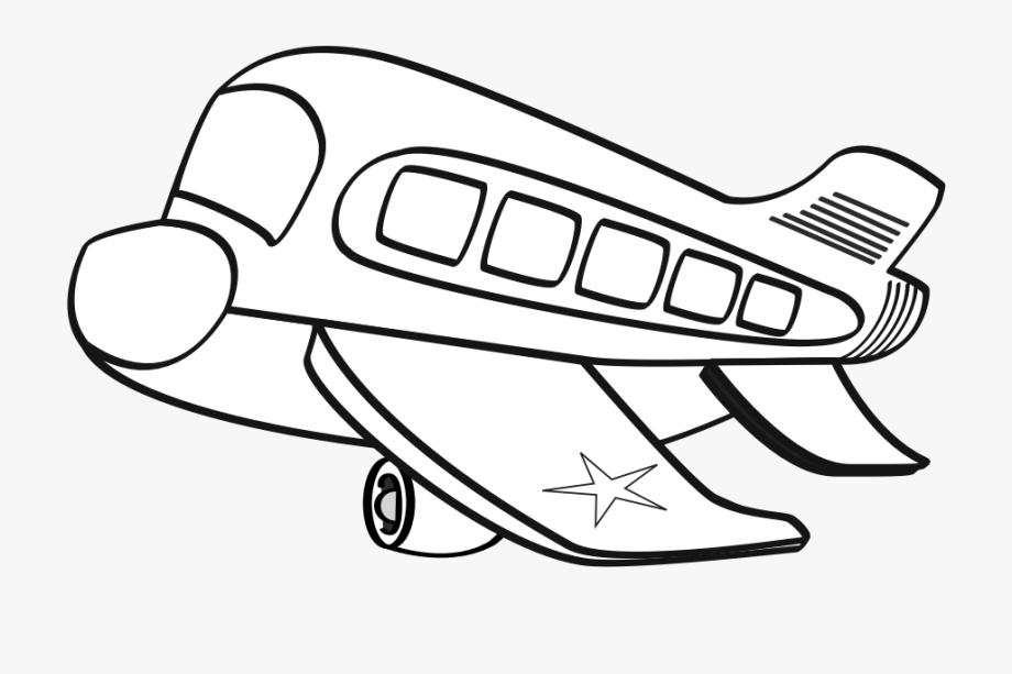 clipart freeuse stock Funny cartoon plane . Airplane clipart black and white