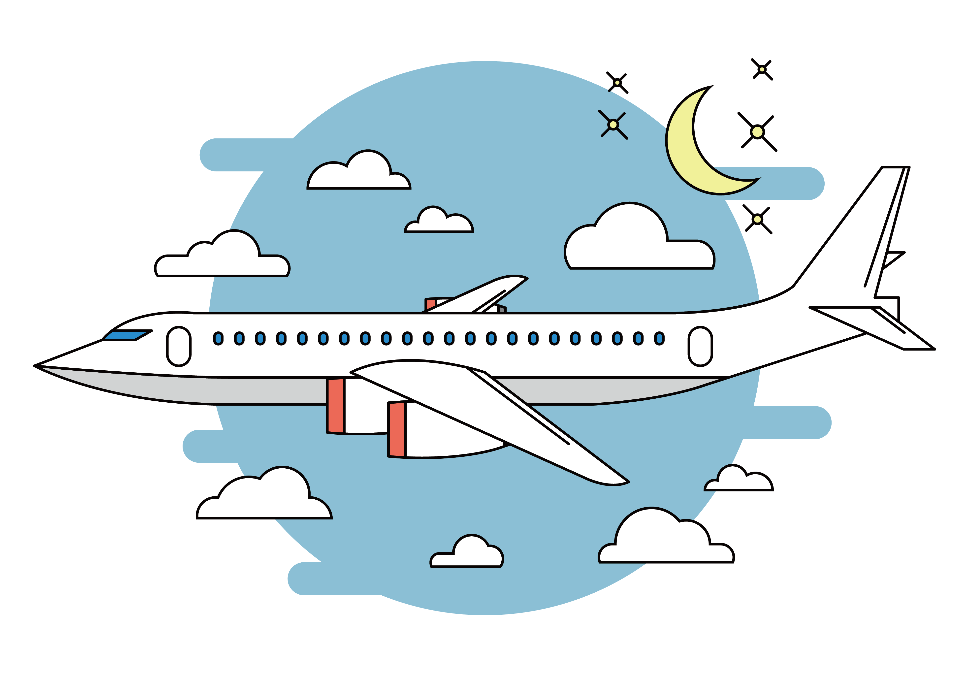 image black and white stock Airplane flight cartoon night. Vector aviation perth
