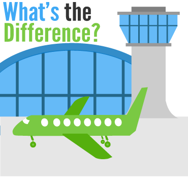 graphic stock Difference between Airline SMS and Airport SMS